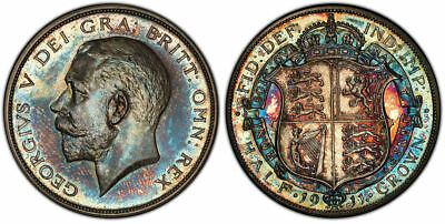 gorgeous toned 1911 1/2 Half Crown Silver PCGS Proof 65 PR65 Great Britain