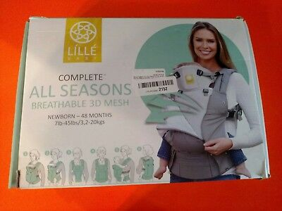 LilleBaby Complete Baby Carrier*All Seasons*Stone Gray*100%Cotton*3D Mesh*6in1