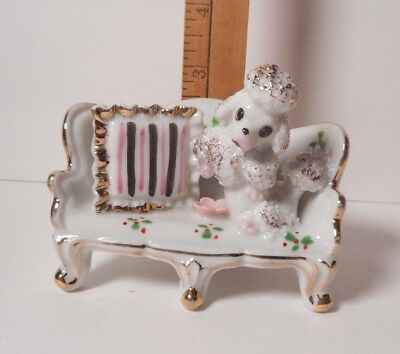 1950's Vintage Poodle On A Sofa Trimmed In Gold    Retired