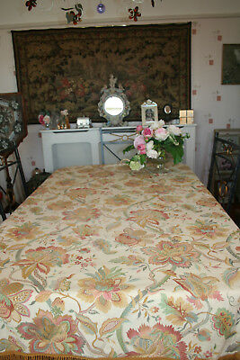 """Beautiful Vintage French Large 66""""x52"""" Brocade Tablecloth/Panel"""