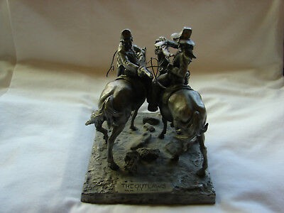 Vintage Signed 1974 Pewter Western Sculpture THE OUTLAWS  by Donald Polland