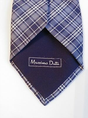 6584b99d75ce MASSIMO DUTTI SILK Tie In Sky Blue Navy Blue & Cream Diagonal ...