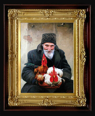"Oil Painting PRINTED on Canvas Arseni - OLD MAN 10,7"" X 8"" Artist Impressionism"