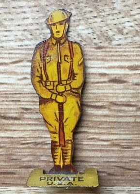 Cracker Jack Prize 1930s Tin Lithographed Soldier Private WWI style uniform