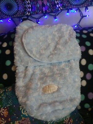Blankets and Beyond super soft Swaddle blanket Bag Blue Minky  0-3M nwot