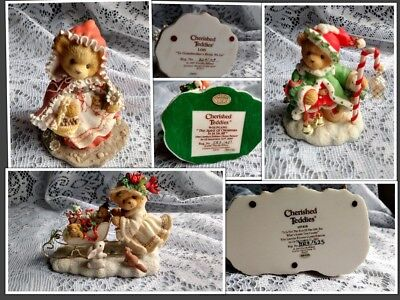 """Cherished Teddies """"Christmas Themed"""" Lot of 3 Favorites *Wolfgang, Lois & Astrid"""