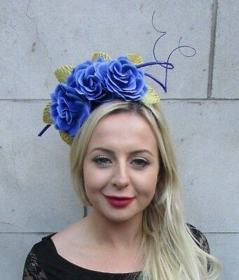 Royal Blue Gold Rose Flower Feather Fascinator Headband Races Hair Floral 6773