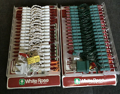 "2 Vintage 18"" Strands 35 Mini Red Light Bulb Sets Green Wire & White Wire NIB"