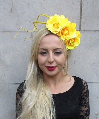 Bright Yellow Rose Flower Feather Fascinator Headband Races Hair Wedding 6774