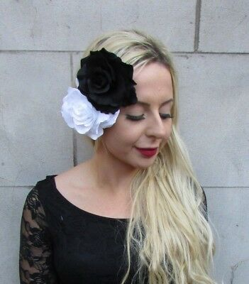 Large Double White Black Rose Flower Hair Clip Fascinator Floral Monochrome 6775