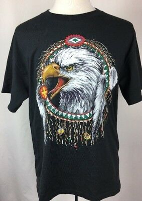 Men's Short Sleeve Native American Eagle Dream Catcher Graphic Tee Black Size L