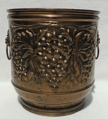 "Vtg 10"" English Ornate Brass Lion Head Handle Metal Jardiniere Planter Pot #4401"