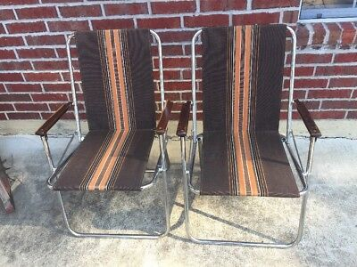 Awe Inspiring 2 Vintage Zip Dee Chrome Folding Chairs Brown Airstream Lawn Beatyapartments Chair Design Images Beatyapartmentscom