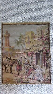 Vintage Middle Eastern Market Scene Tapestry Wall Hanging
