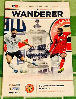 Bolton v Walsall FA Cup 3rd Round  2018-19 Programme