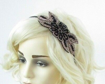 Black & Gold Beaded Flower Fascinator Headband 1920s Great Gatsby Flapper 6777
