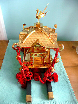 Vintage Brass Miniature Japanese Mikoshi Shrine Temple From Collection Gorgeous
