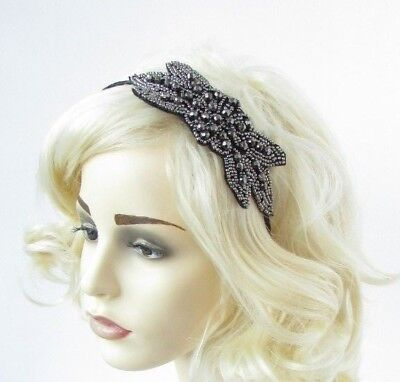 Pewter Gunmetal Dark Grey Black Fascinator Headband 1920s Gatsby Flapper 6778