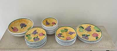 Caleca Frutta pattern dinnerware SET: place settings + serving bowl [see list]