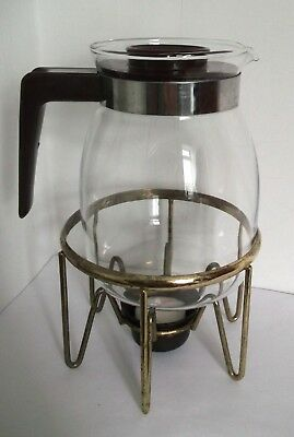 Vintage Glass COFFEE JUG and STAND/ tealight holder heater - replacement lid?