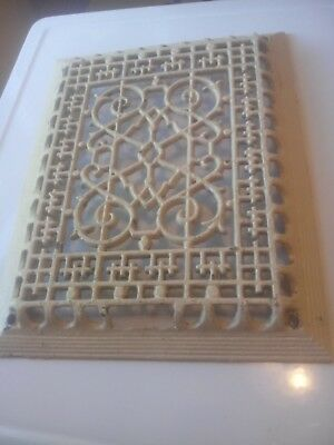 Antique  10 1/4 - 13 3/8 Heat Register Cast Iron Wall Floor Grate Heat Vent=