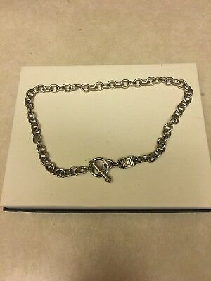 """Heavy Solid Judith Ripka Sterling Silver Cable Oval Link Toggle Necklace 17"""""""