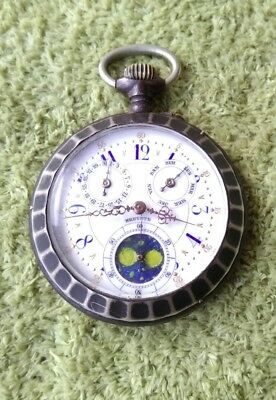 Working Niello Silver Astronomical Moon Phase With Calendar & Day Indicator Work