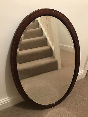 Oval Mirror. Inlay. Mahogany. Victorian/Edwardian? Bevelled Glass.