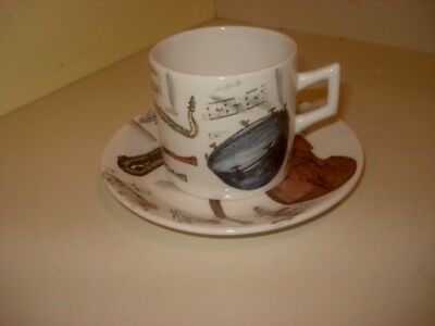 Early Vintage Porcelain Cup and Saucer By Fornasetti Rare Pattern