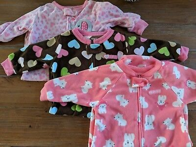 lot of 3 Baby Girl Zipper Sleep Sack 0-9 Months Child of mine Carters Just one u