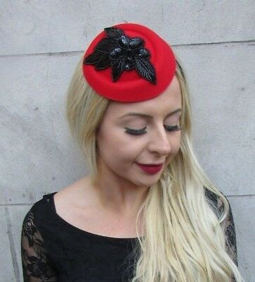 Red and Black Sequin Pillbox Hat Hair Fascinator Races Wedding Headpiece 6781