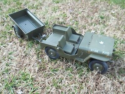 "Vintage 12"" 1960's GI Joe 5 STAR JEEP & TRAILER FOR PARTS Action Soldier Vehicle"