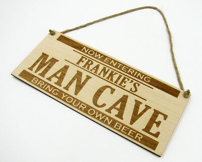 Personalised MAN CAVE Hanging Plaque Door Wall Sign Wooden Engraved Gift Friend