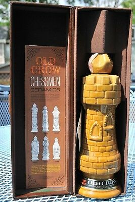 Old Crow Limited Edition Chessman Ceramic Decanter Bottle Light Castle