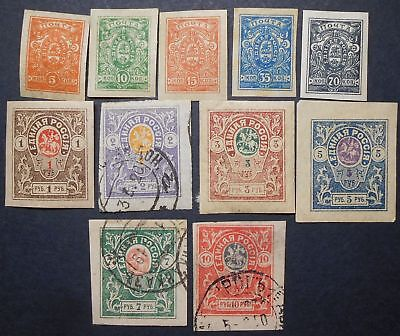 Russia Civil War 1919 Denikin Army Issue, group of stamps, MH/used