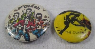 The Clash 2 X Vintage Original US Late 1970s Early 80s Badges Pins Buttons Punk