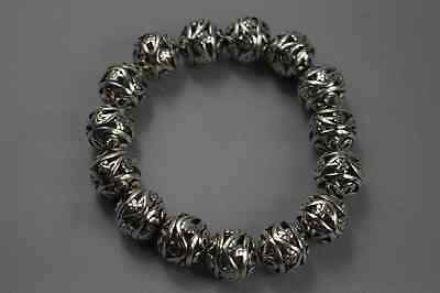 Chinese Collectable Handwork Miao Silver Carve Flower Rattan Bead Decor Bracelet