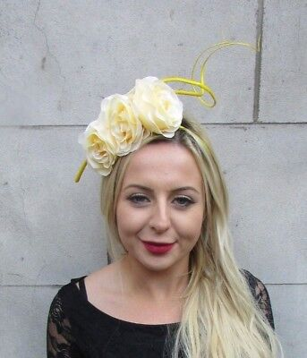 Lemon Light Yellow Statement Rose Flower Feather Fascinator Headband Hair 6789