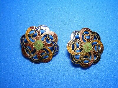 Antique Lot of 2 Beautiful Pierced Art Nouveau Champleve Enamel Buttons