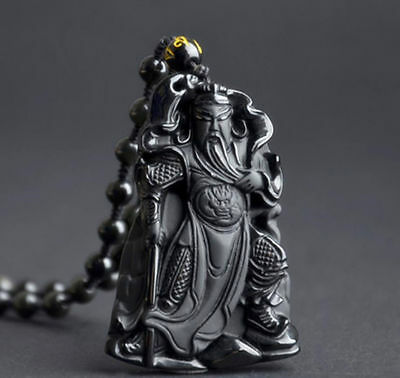 Obsidian guan yu pendant necklace Jewelry Women Stone Gift energy Chinese Unisex