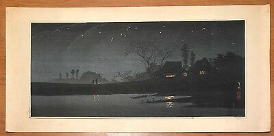 Vintage Signed Japanese Woodblock Print Of Starry Night Scene Bought In Honolulu