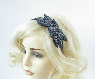 Navy Blue Bronze Silver Bead Fascinator Headband 1920s Great Gatsby Flapper 6794
