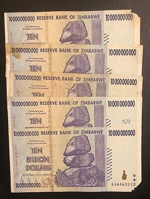 ZIMBABWE 10 Billion Dollars x 5 Banknotes, 2008 *Poor Condition* Currency Lot
