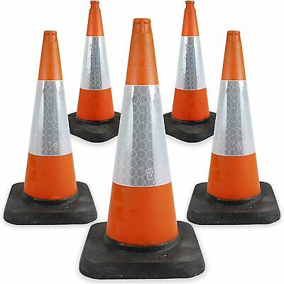 """PACK OF 5 Road Traffic cones 30"""" (750mm) Self weighted Safety Cone - BRAND NEW"""