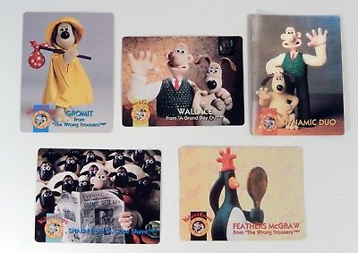Set Of 5 Wallace And Gromit Trading Cards