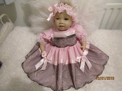"""HANDMADE REBORN DOLL SIZE 22"""" /Baby 3-6mthS  PINK/BLACK SWISS LACE TWO PIECE NEW"""