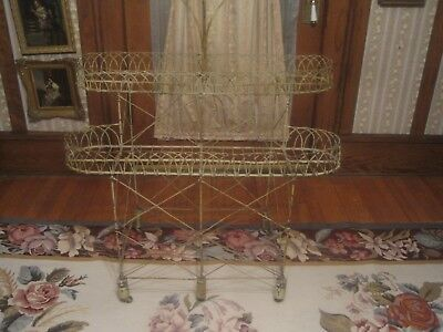 Antique Plant Stand Victorian Wire Wood Feet Iron Wheels All Original