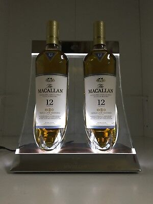 Macallan Scotch Whisky Advertising Collectible Acrylic 2-Bottle Pub Display With