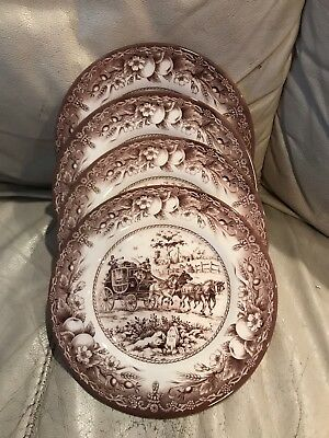 Royal Stafford 4 Brown Horse Carriage Stagecoach Salad Dessert Plates Dishes