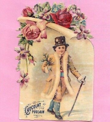 """Antique Vintage Victorian Trade Card """"Chocolate"""" Young Man w/Hat 1800-90."""
